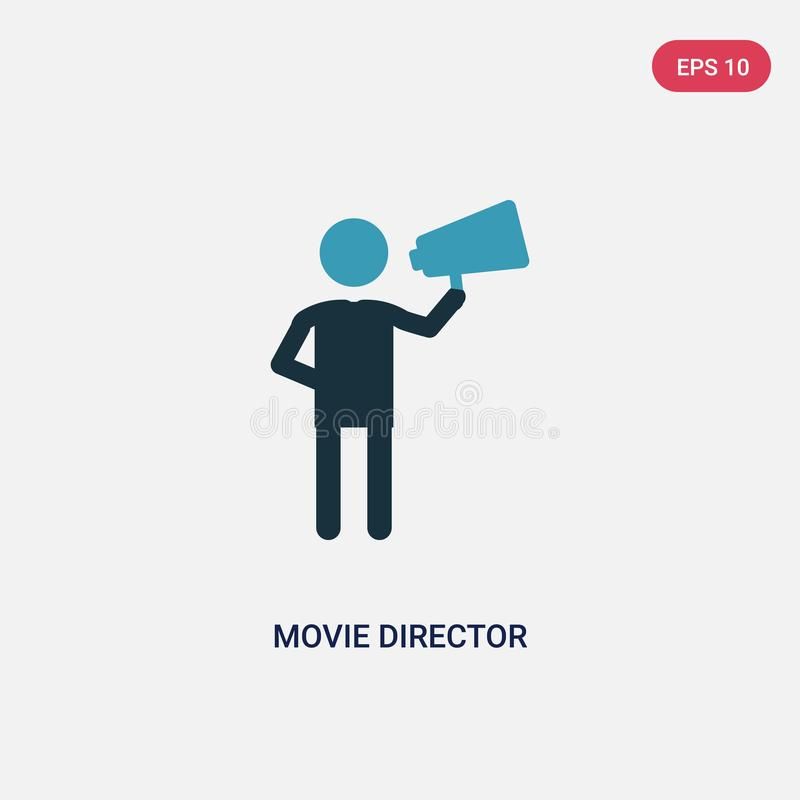 Two color movie director vector icon from people concept. isolated blue movie director vector sign symbol can be use for web, vector illustration