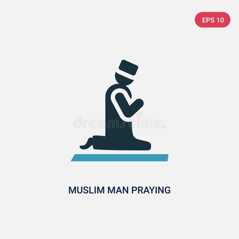 Two color muslim man praying vector icon from religion-2 concept. isolated blue muslim man praying vector sign symbol can be use vector illustration