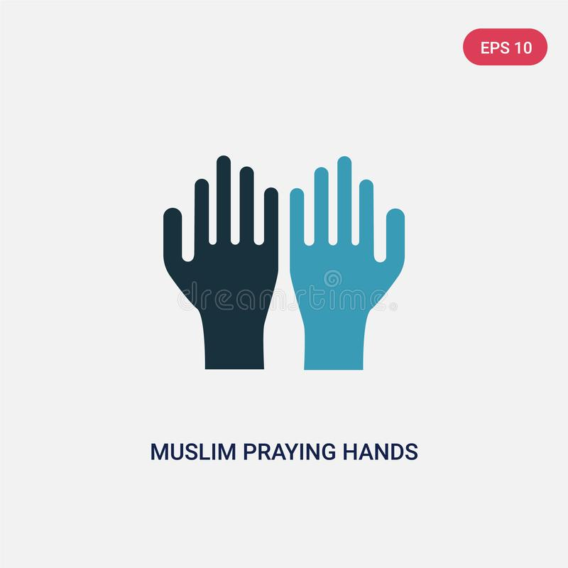 Two color muslim praying hands vector icon from religion-2 concept. isolated blue muslim praying hands vector sign symbol can be royalty free illustration