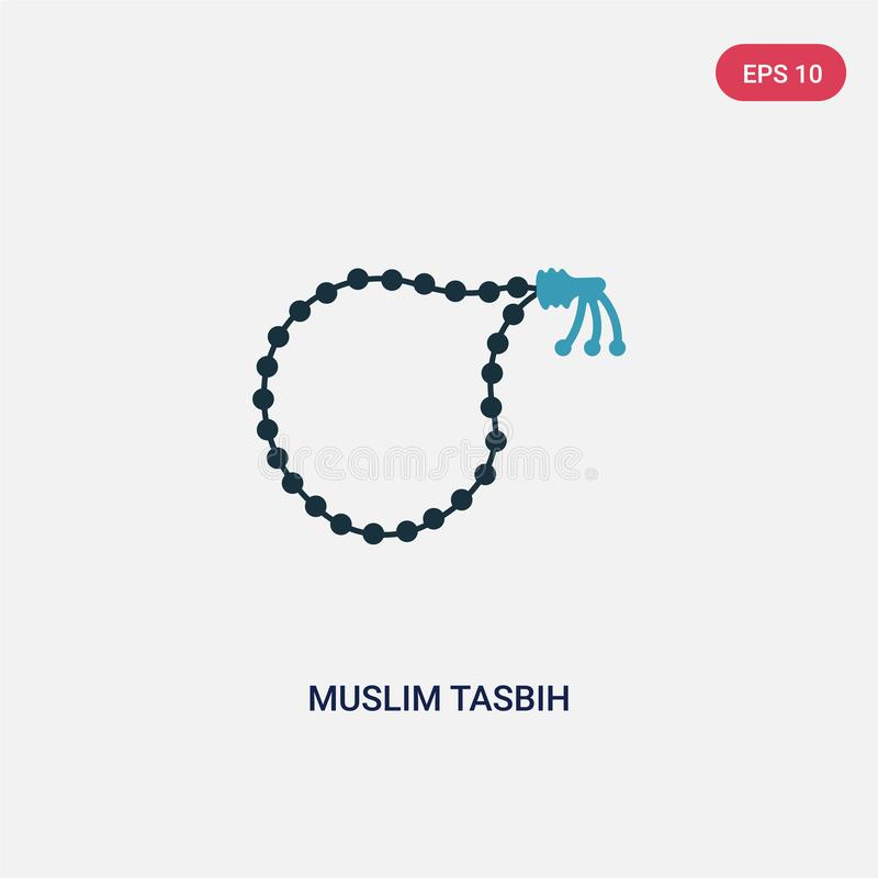 Two color muslim tasbih vector icon from religion concept. isolated blue muslim tasbih vector sign symbol can be use for web, stock illustration