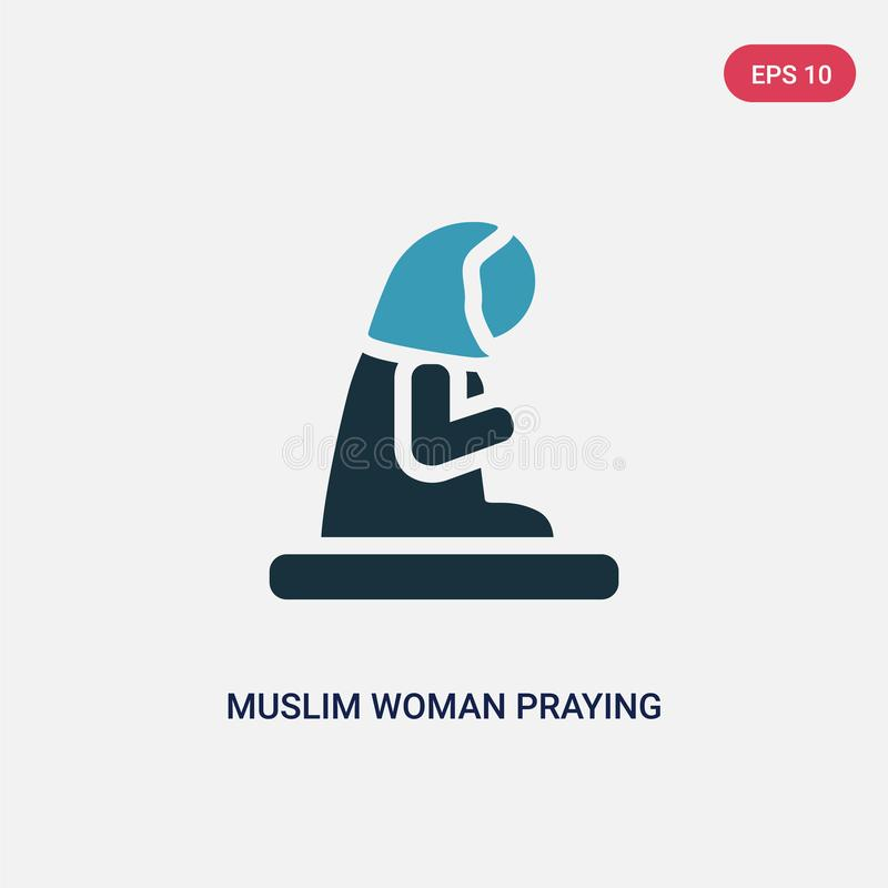 Two color muslim woman praying vector icon from religion-2 concept. isolated blue muslim woman praying vector sign symbol can be royalty free illustration