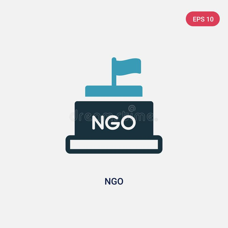 Two color ngo vector icon from political concept. isolated blue ngo vector sign symbol can be use for web, mobile and logo. eps 10 royalty free illustration