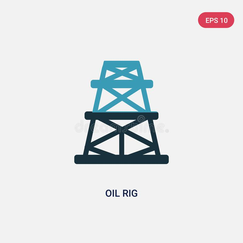 Two color oil rig vector icon from industry concept. isolated blue oil rig vector sign symbol can be use for web, mobile and logo stock illustration