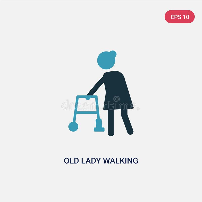 Two color old lady walking vector icon from people concept. isolated blue old lady walking vector sign symbol can be use for web, stock illustration