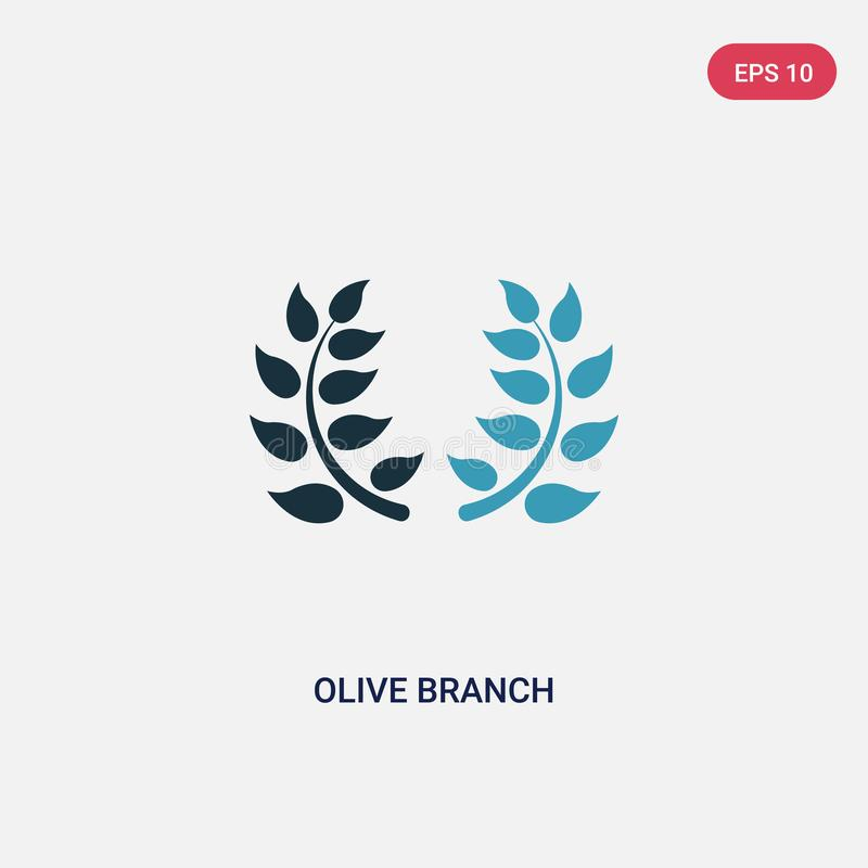 Two color olive branch vector icon from religion concept. isolated blue olive branch vector sign symbol can be use for web, mobile stock illustration