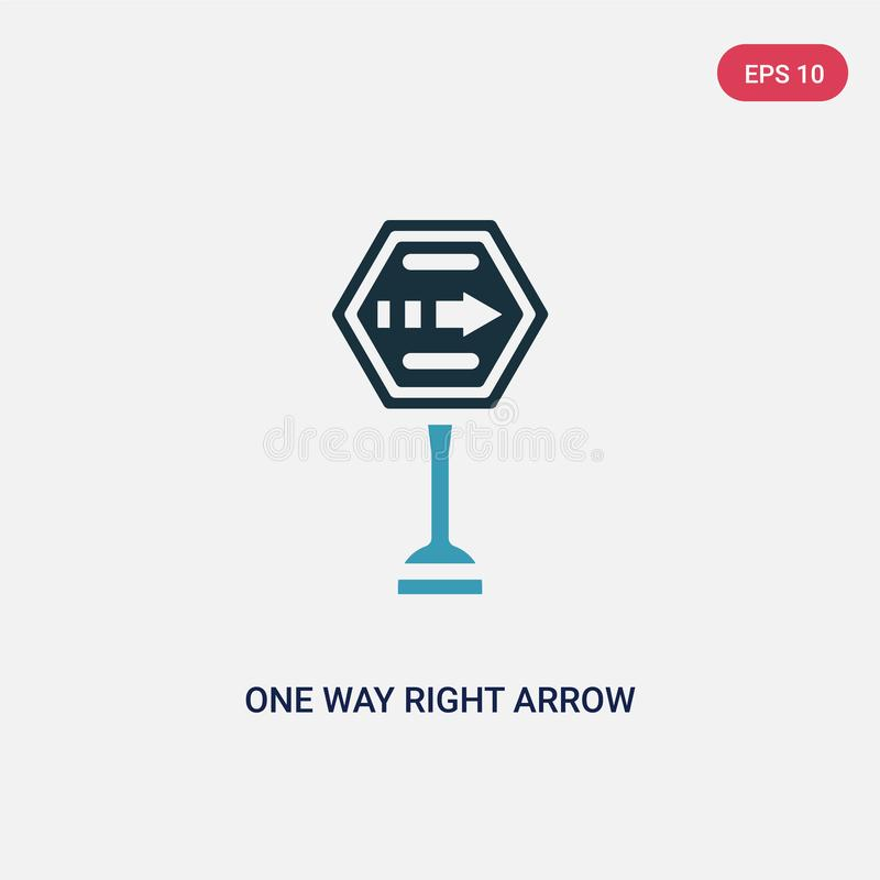 Two color one way right arrow vector icon from signs concept. isolated blue one way right arrow vector sign symbol can be use for stock illustration