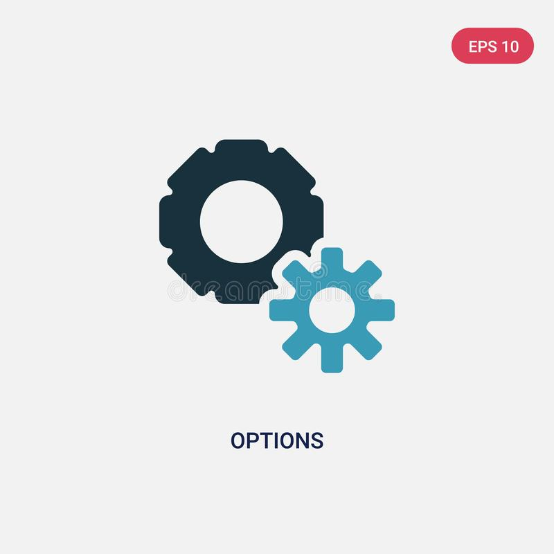 Two color options vector icon from social media marketing concept. isolated blue options vector sign symbol can be use for web, vector illustration