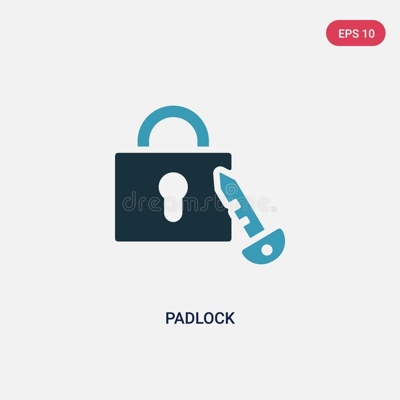 Two color padlock vector icon from strategy concept. isolated blue padlock vector sign symbol can be use for web, mobile and logo royalty free illustration