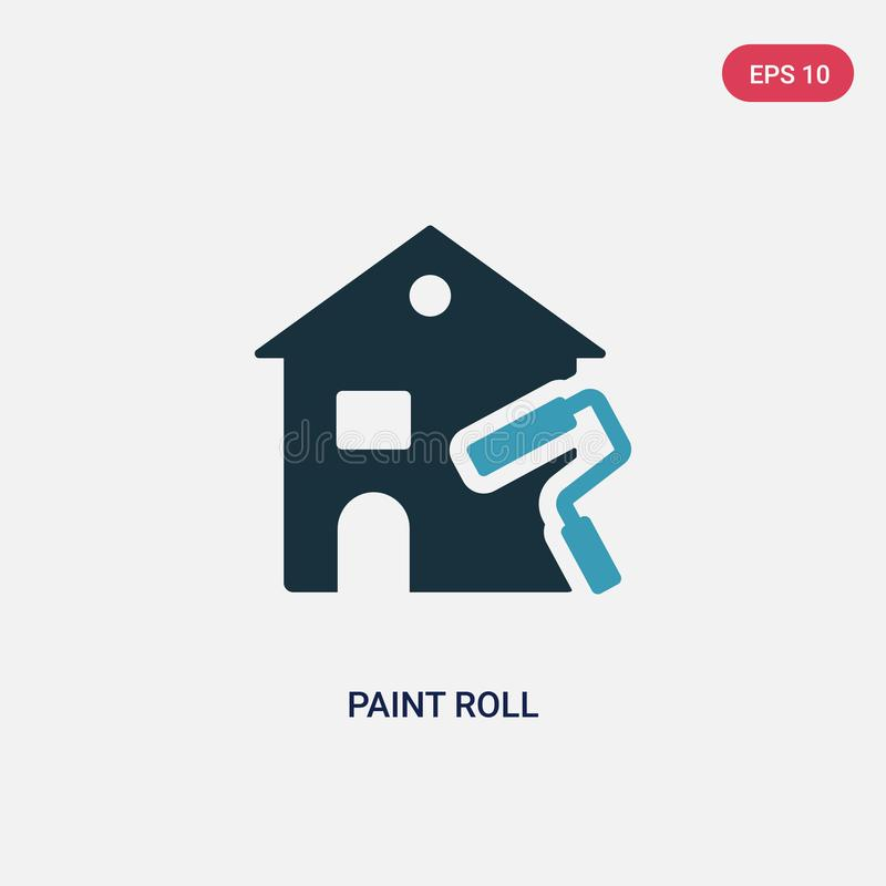 Two color paint roll vector icon from real estate concept. isolated blue paint roll vector sign symbol can be use for web, mobile stock illustration