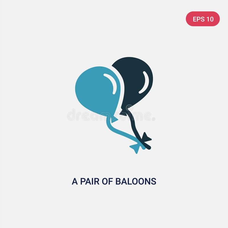 Two color a pair of baloons of hearts vector icon from shapes concept. isolated blue a pair of baloons hearts vector sign symbol royalty free illustration
