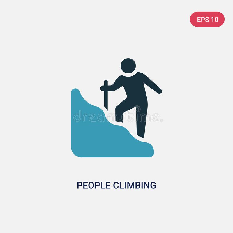 Two color people climbing vector icon from recreational games concept. isolated blue people climbing vector sign symbol can be use royalty free illustration