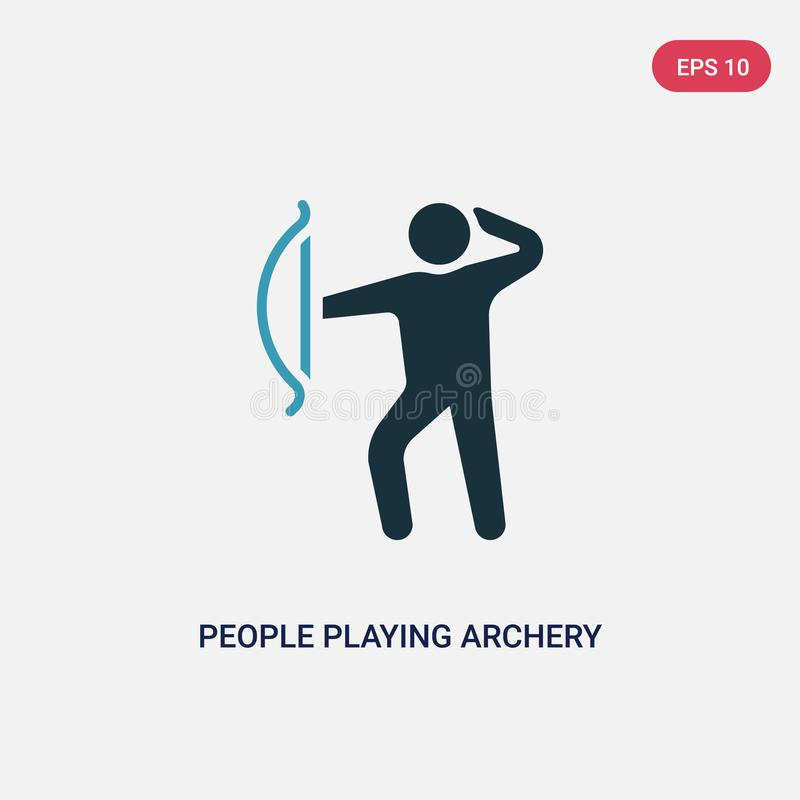 Two color people playing archery vector icon from recreational games concept. isolated blue people playing archery vector sign stock illustration