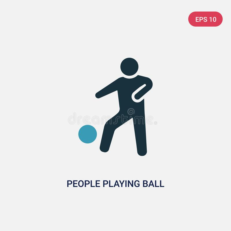 Two color people playing ball vector icon from recreational games concept. isolated blue people playing ball vector sign symbol royalty free illustration