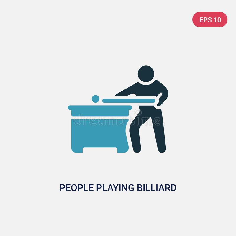 Two color people playing billiard vector icon from recreational games concept. isolated blue people playing billiard vector sign. Symbol can be use for web stock illustration