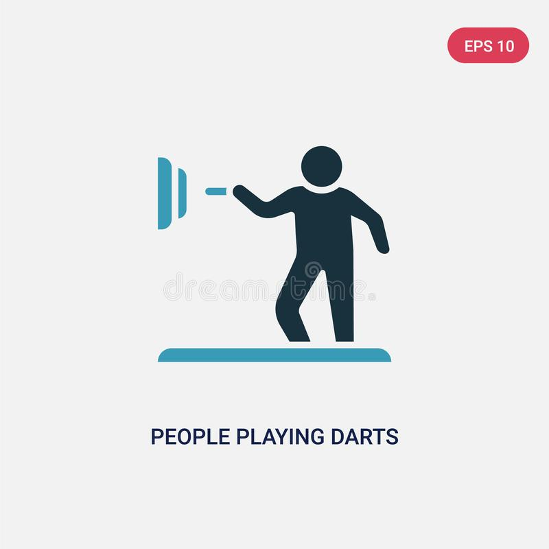 Two color people playing darts vector icon from recreational games concept. isolated blue people playing darts vector sign symbol royalty free illustration