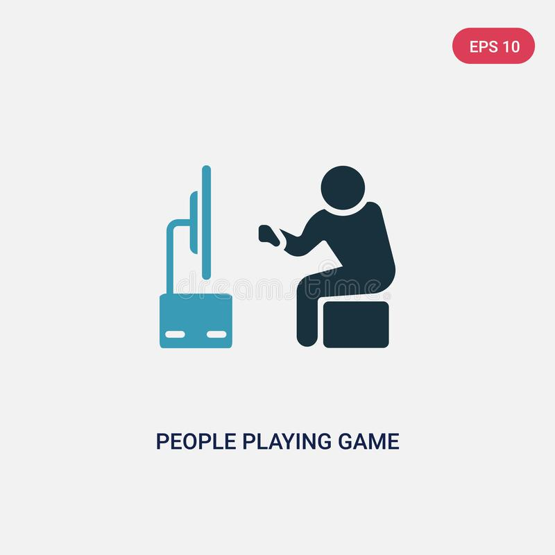 Two color people playing game vector icon from recreational games concept. isolated blue people playing game vector sign symbol royalty free illustration