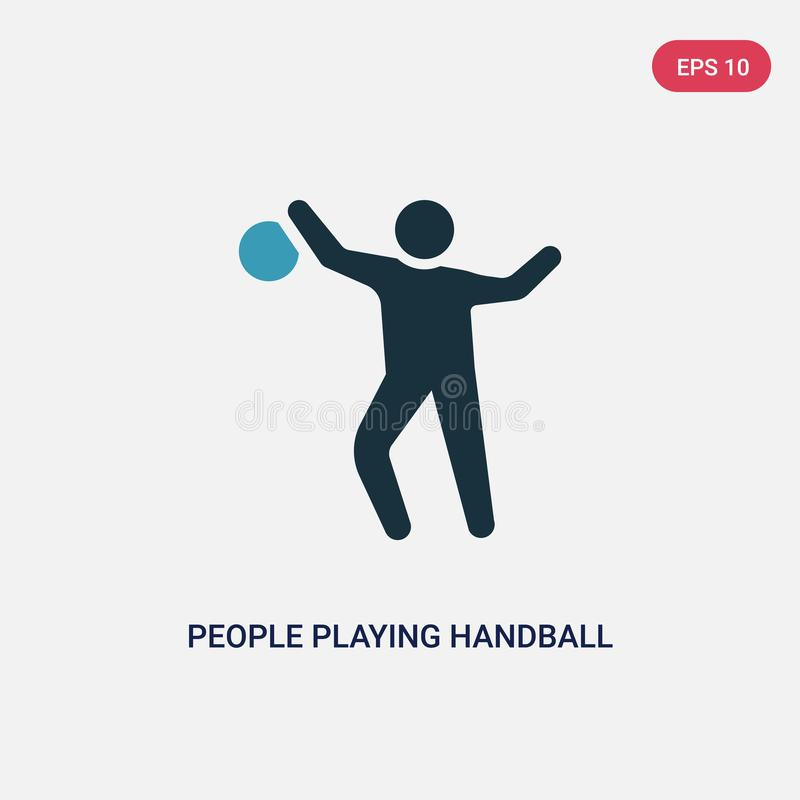 Two color people playing handball vector icon from recreational games concept. isolated blue people playing handball vector sign stock illustration