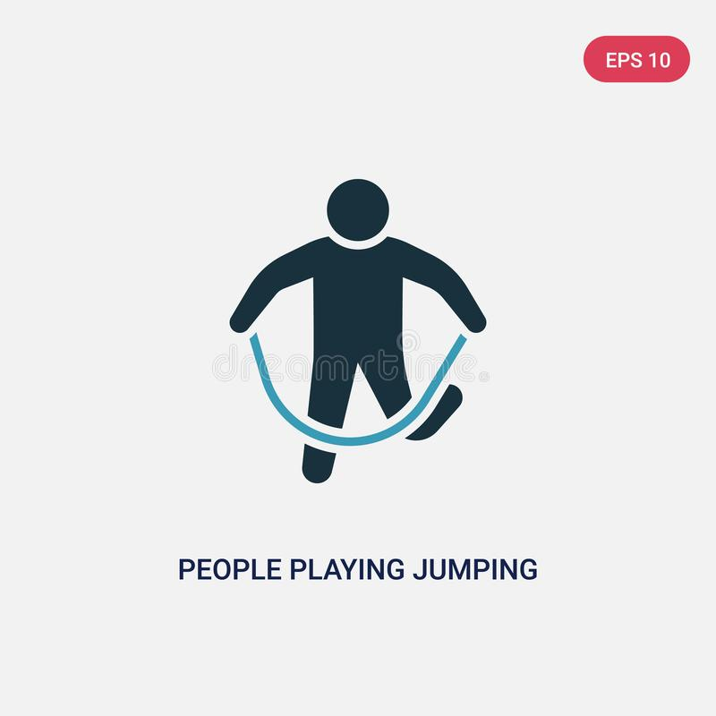 Two color people playing jumping rope vector icon from recreational games concept. isolated blue people playing jumping rope stock illustration