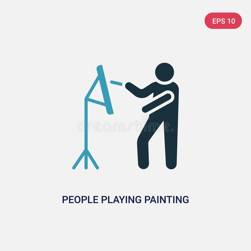 Two color people playing painting vector icon from recreational games concept. isolated blue people playing painting vector sign vector illustration