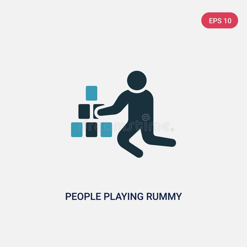 Two color people playing rummy vector icon from recreational games concept. isolated blue people playing rummy vector sign symbol. Can be use for web, mobile royalty free illustration