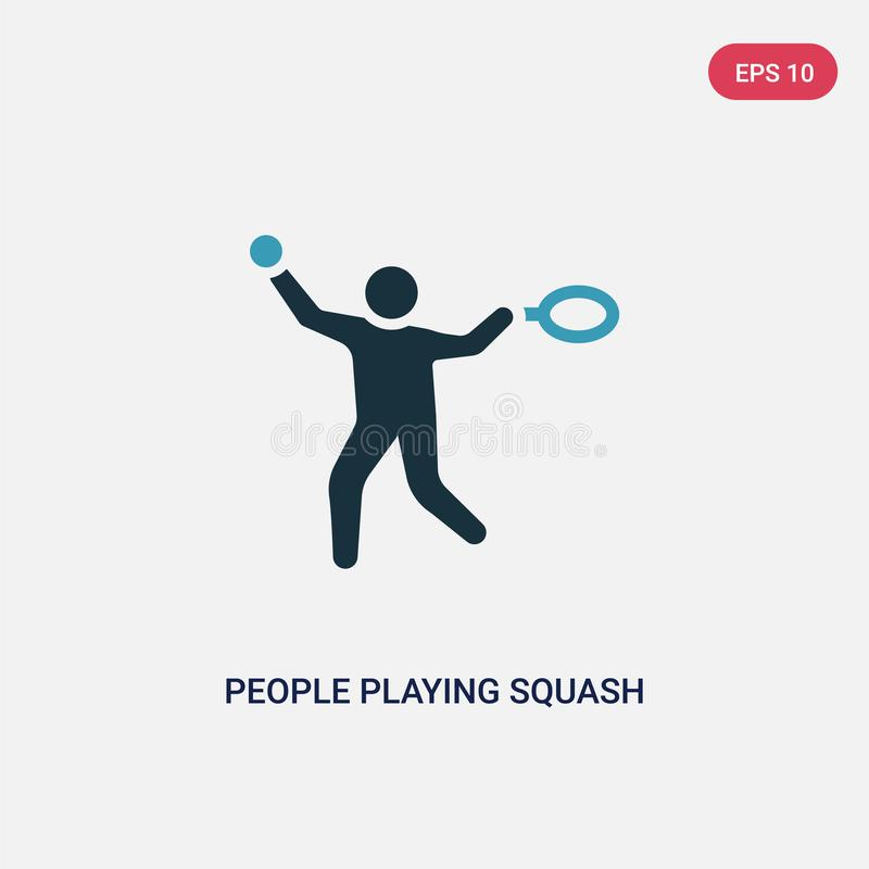 Two color people playing squash vector icon from recreational games concept. isolated blue people playing squash vector sign stock illustration