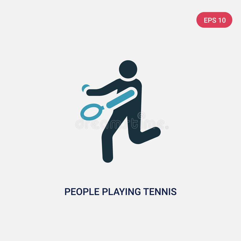 Two color people playing tennis vector icon from recreational games concept. isolated blue people playing tennis vector sign stock illustration