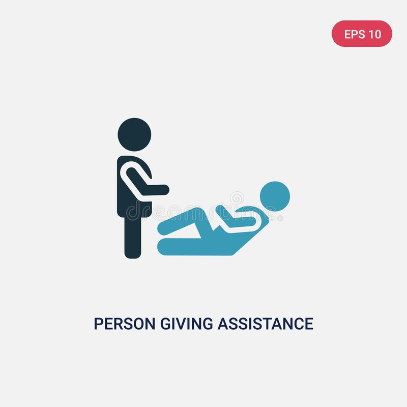 Two color person giving assistance vector icon from people concept. isolated blue person giving assistance vector sign symbol can stock illustration