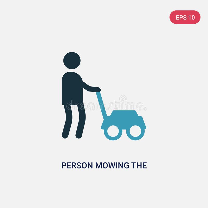 Two color person mowing the grass vector icon from people concept. isolated blue person mowing the grass vector sign symbol can be vector illustration