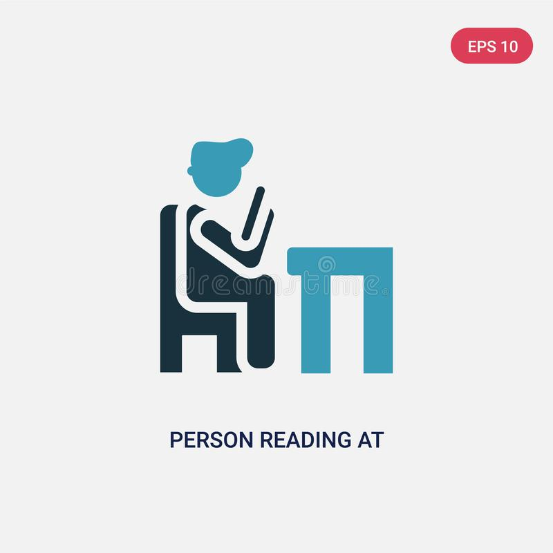 Two color person reading at the office vector icon from people concept. isolated blue person reading at the office vector sign royalty free illustration