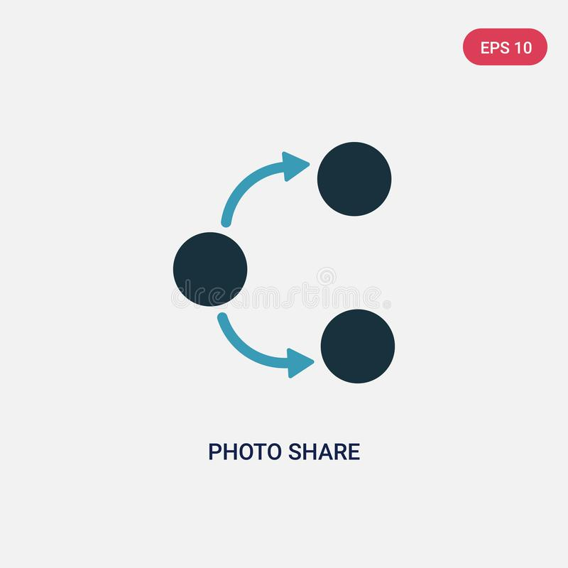 Two color photo share vector icon from social media marketing concept. isolated blue photo share vector sign symbol can be use for stock illustration