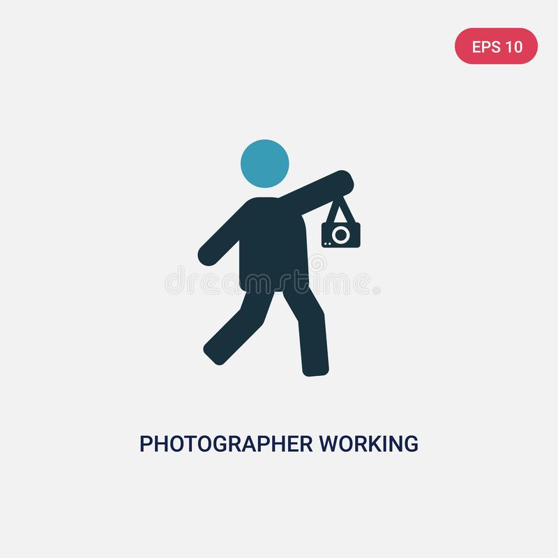 Two color photographer working vector icon from people concept. isolated blue photographer working vector sign symbol can be use royalty free illustration