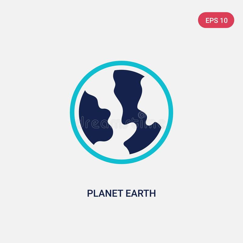 Two color planet earth vector icon from delivery and logistic concept. isolated blue planet earth vector sign symbol can be use vector illustration