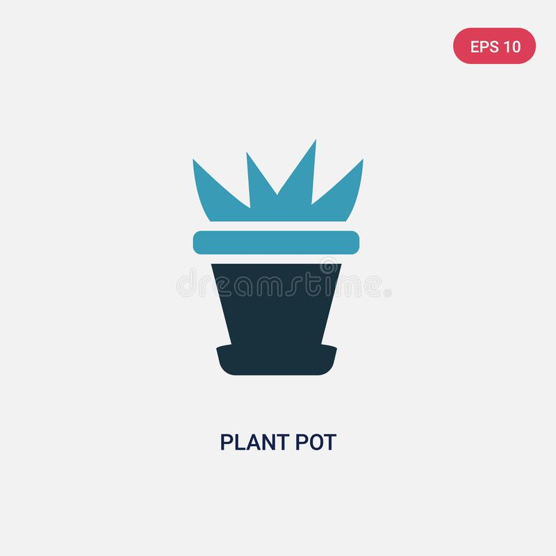 Two color plant pot vector icon from nature concept. isolated blue plant pot vector sign symbol can be use for web, mobile and stock illustration