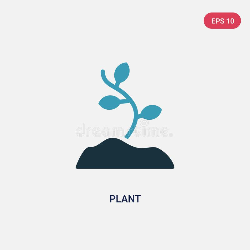 Two color plant vector icon from stone age concept. isolated blue plant vector sign symbol can be use for web, mobile and logo. stock illustration