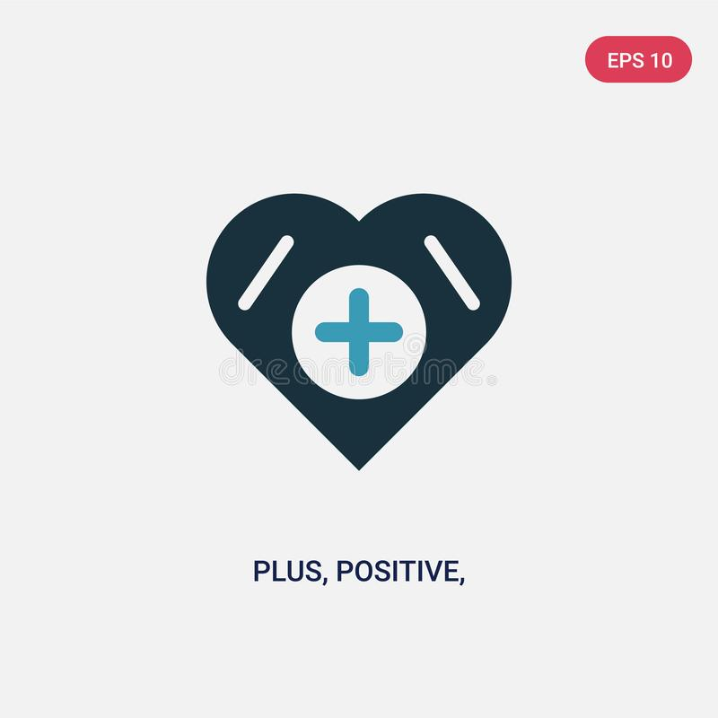 Two color plus, positive, add, vector icon from signs concept. isolated blue plus, positive, add, vector sign symbol can be use stock illustration