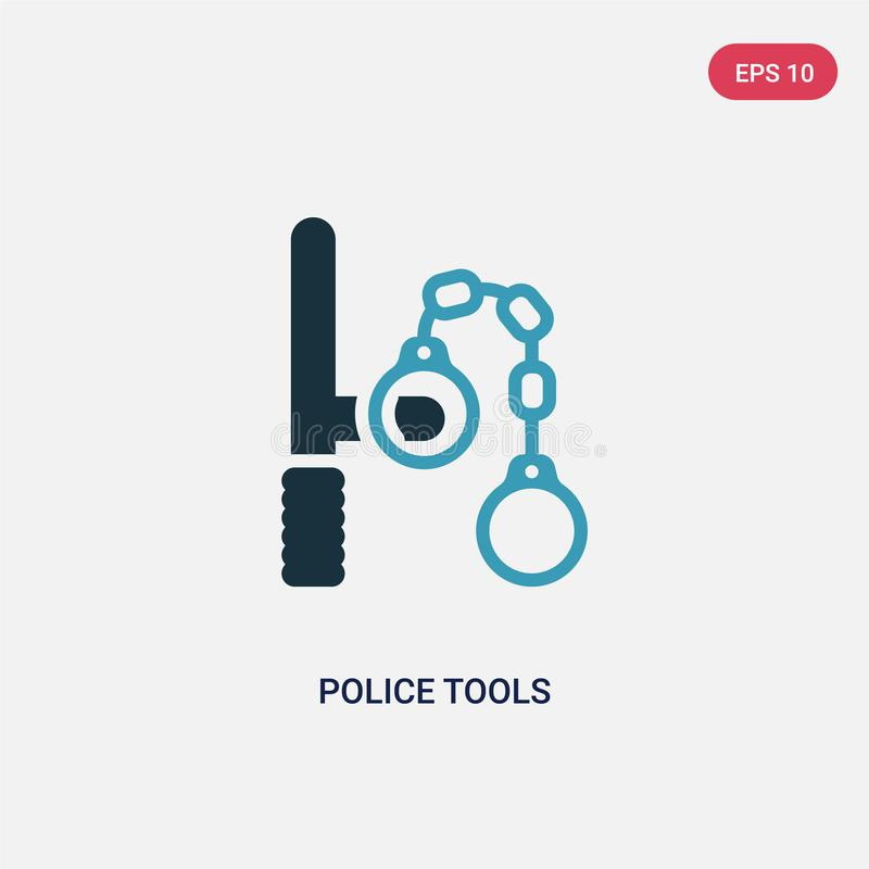Two color police tools vector icon from security concept. isolated blue police tools vector sign symbol can be use for web, mobile royalty free illustration