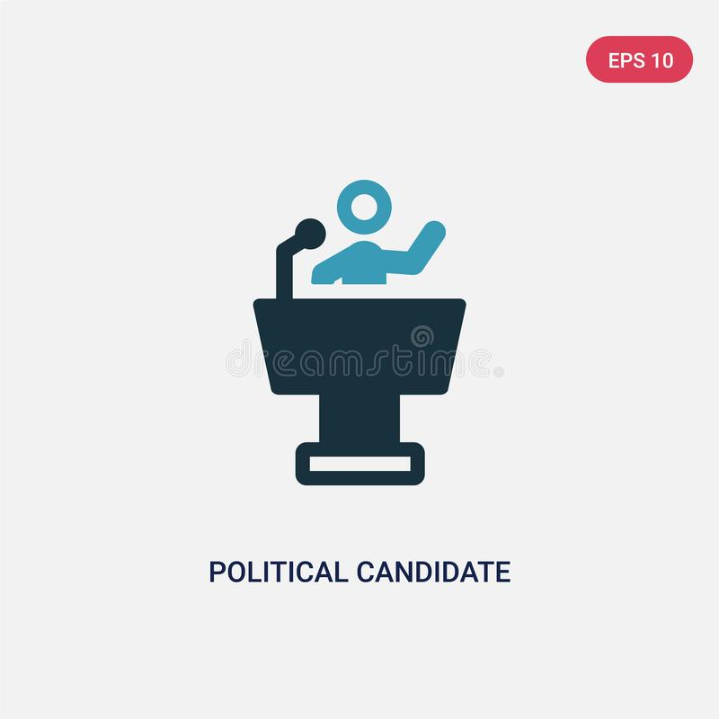 Two color political candidate speech vector icon from political concept. isolated blue political candidate speech vector sign royalty free illustration