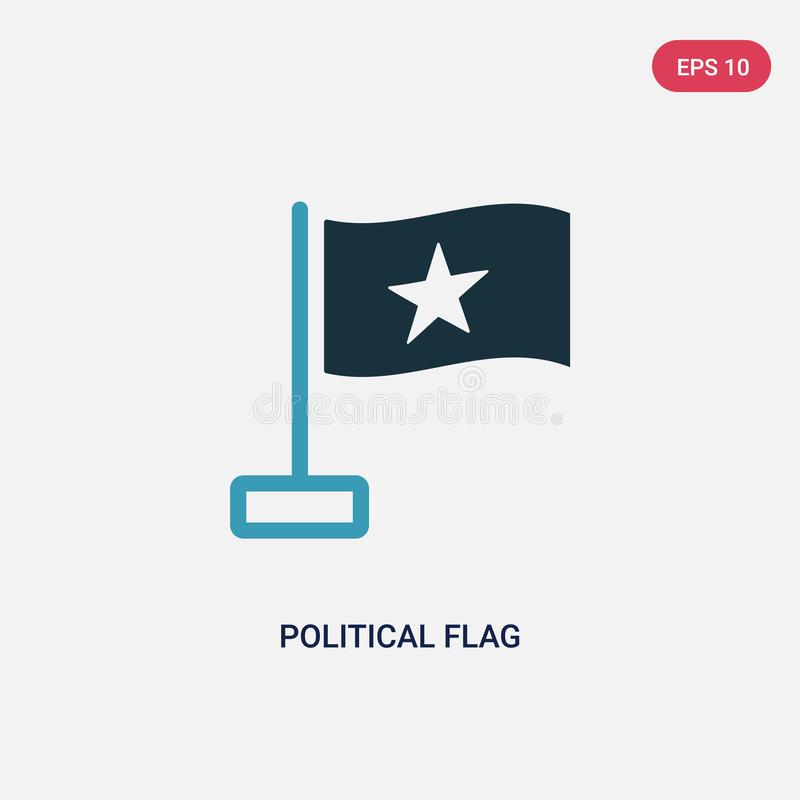 Two color political flag vector icon from political concept. isolated blue political flag vector sign symbol can be use for web, vector illustration