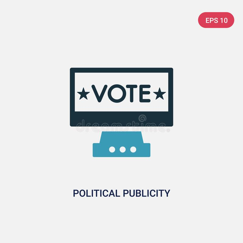 Two color political publicity on monitor screen vector icon from political concept. isolated blue political publicity on monitor stock illustration
