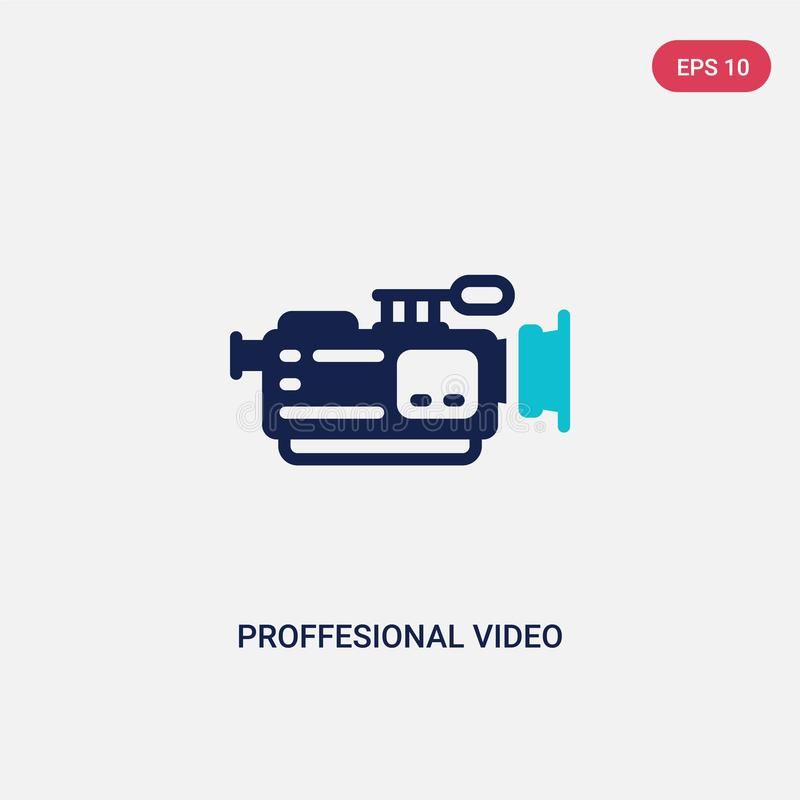 Two color proffesional video camera vector icon from cinema concept. isolated blue proffesional video camera vector sign symbol. Can be use for web, mobile and vector illustration