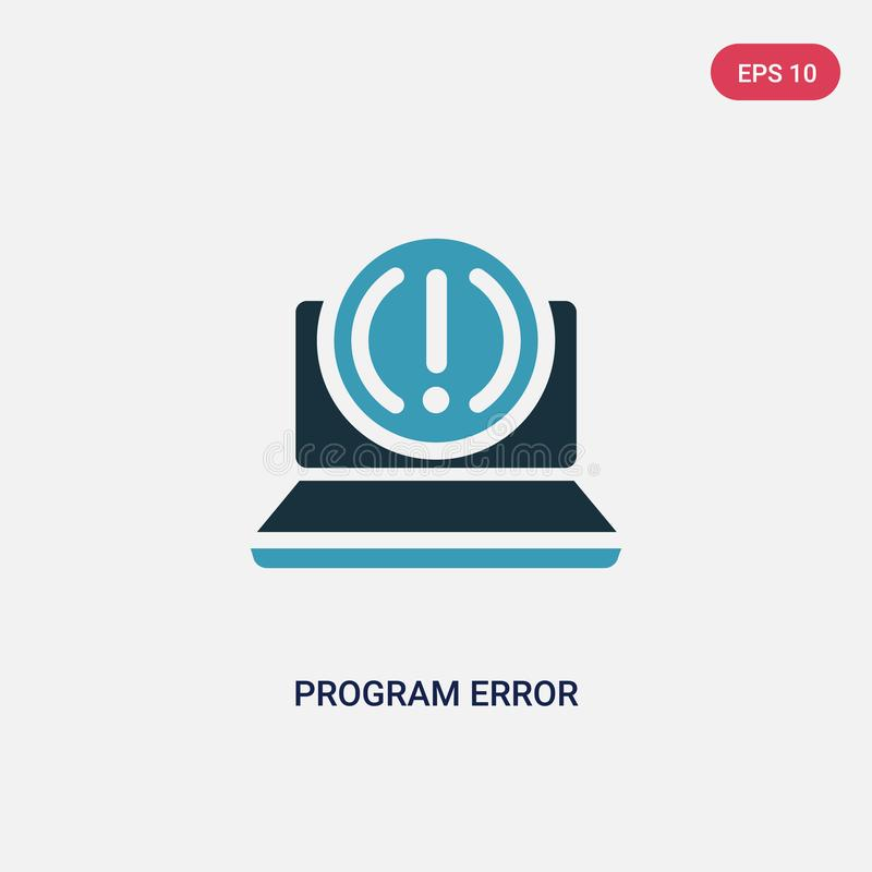 Two color program error vector icon from programming concept. isolated blue program error vector sign symbol can be use for web, royalty free illustration