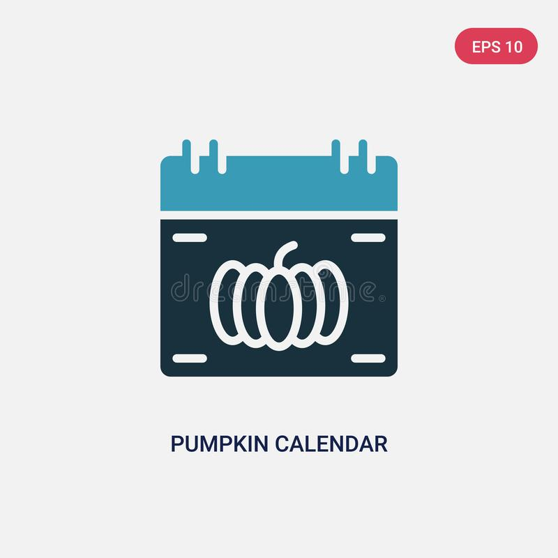 Two color pumpkin calendar vector icon from other concept. isolated blue pumpkin calendar vector sign symbol can be use for web, vector illustration