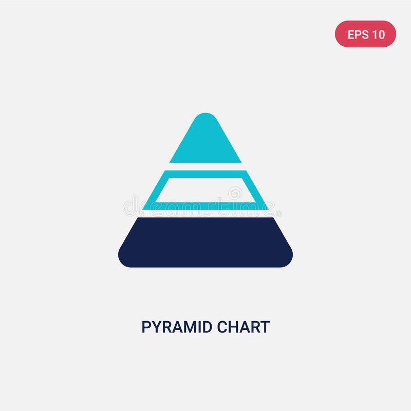 Two color pyramid chart vector icon from analytics concept. isolated blue pyramid chart vector sign symbol can be use for web, royalty free illustration