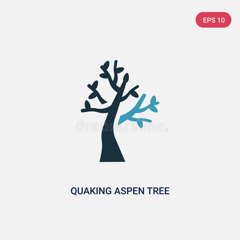 Two color quaking aspen tree vector icon from nature concept. isolated blue quaking aspen tree vector sign symbol can be use for. Web, mobile and logo. eps 10 vector illustration