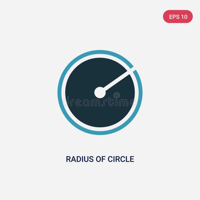 Two color radius of circle vector icon from shapes concept. isolated blue radius of circle vector sign symbol can be use for web, vector illustration