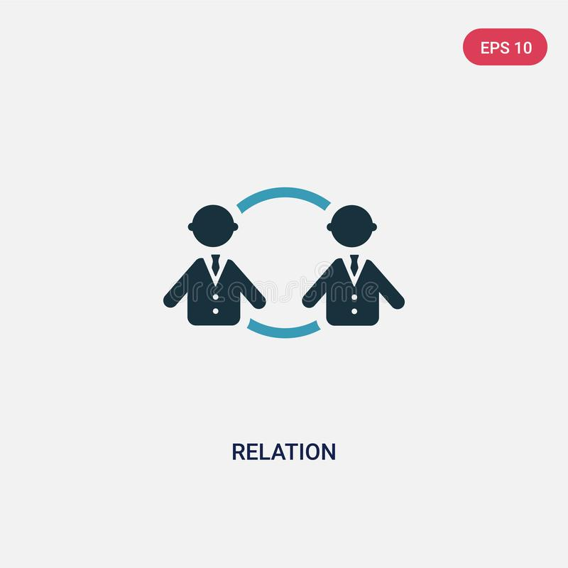 Two color relation vector icon from people concept. isolated blue relation vector sign symbol can be use for web, mobile and logo stock illustration