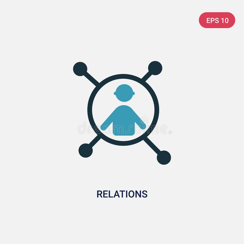 Two color relations vector icon from people concept. isolated blue relations vector sign symbol can be use for web, mobile and vector illustration