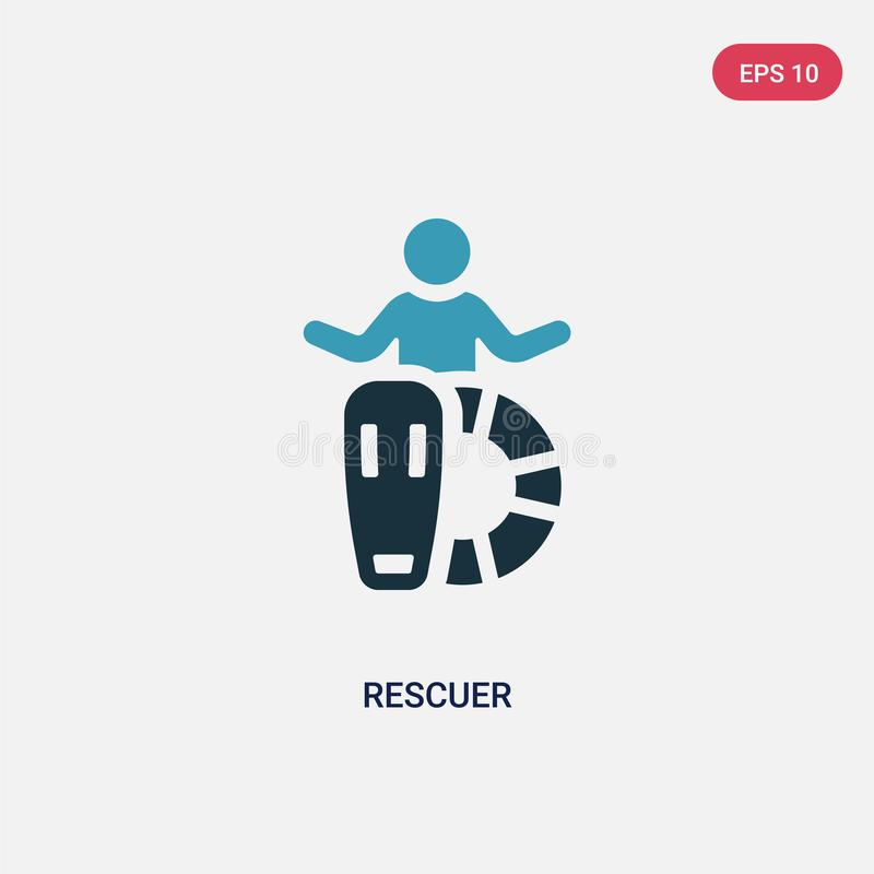Two color rescuer vector icon from people skills concept. isolated blue rescuer vector sign symbol can be use for web, mobile and royalty free illustration
