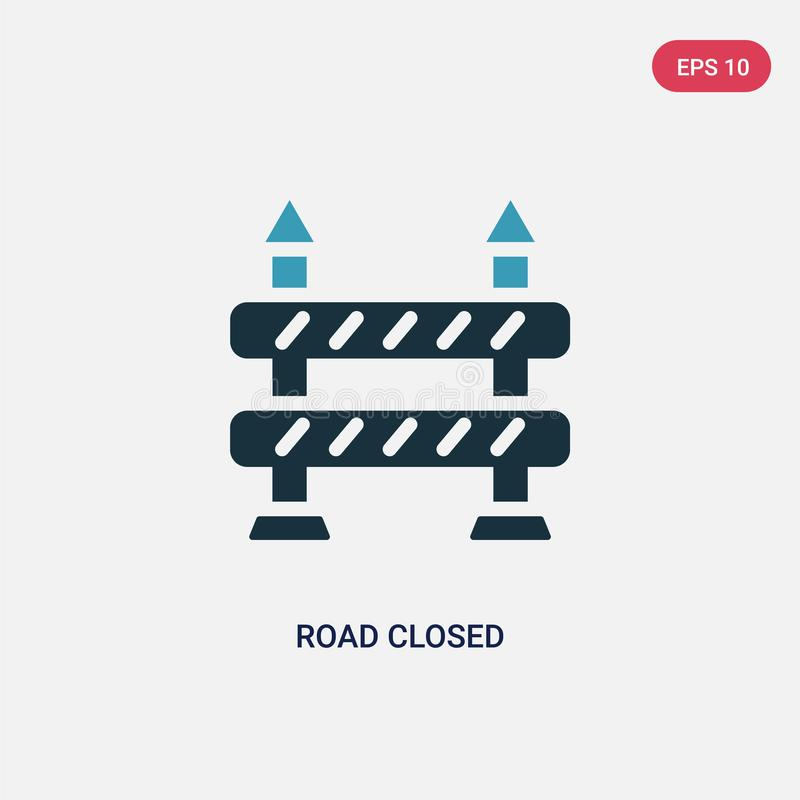 Two color road closed vector icon from signaling concept. isolated blue road closed vector sign symbol can be use for web, mobile royalty free illustration