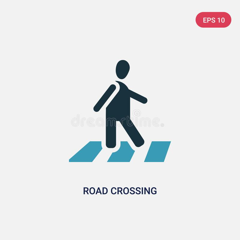Two color road crossing vector icon from people concept. isolated blue road crossing vector sign symbol can be use for web, mobile royalty free illustration